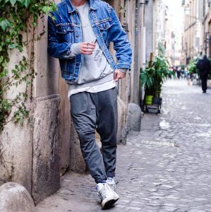 13 Dark Joggers and Blue Jeans Jacket