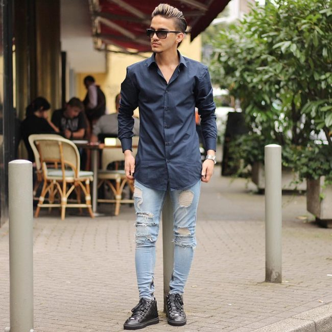 13 Long Blue Shirt & Torn Slim Fit Faded Blue Jeans