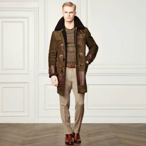 13 Suede Jacket With Patterned Sweater