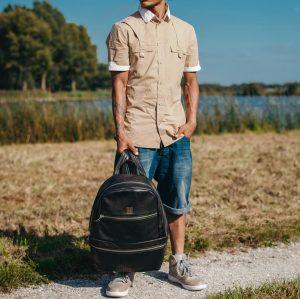 14 Black Backpack & Brown Sleeveless Casual Shirt