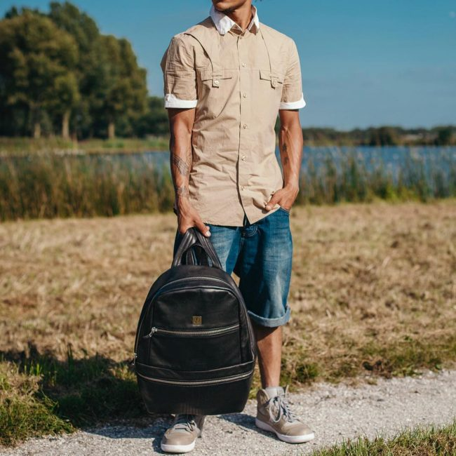 14 Black Backpack & Brown Sleeveless Casual Shirt