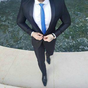 14 Dark Black Suit And Royal Blue Tie