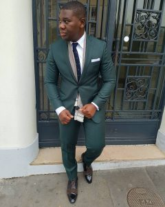 14 Green Slim Fit Suit with a Scarf