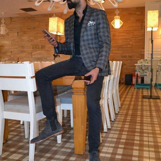 14 Grey Checked Blazer with Black Jeans