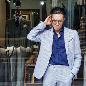 14 Striped Pale Blue Suit