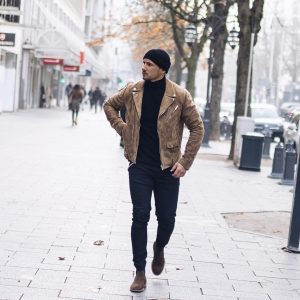 15 Brown Suede Jacket and Black Polo Neck