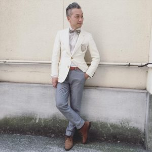15 Cream White Blazer with Grey Trousers