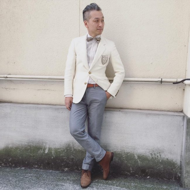 15 Cream White Blazer with Grey Trousers