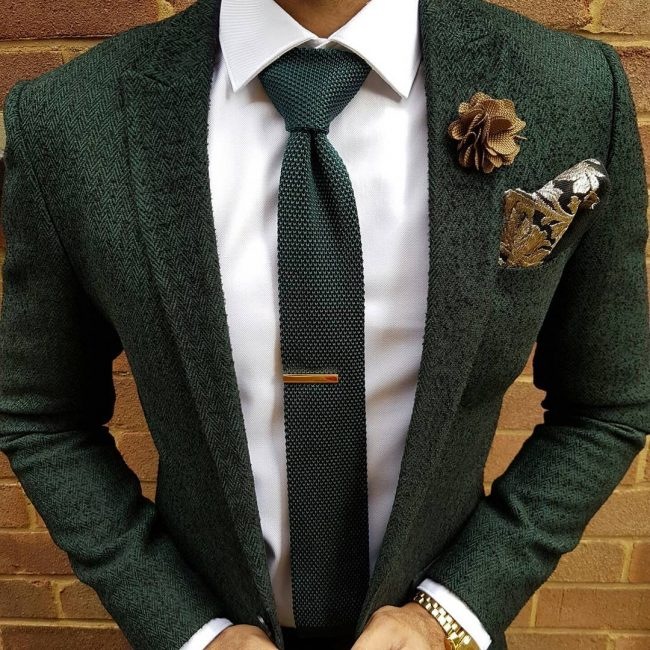 15 Knitted Silk Green Tweed Suit