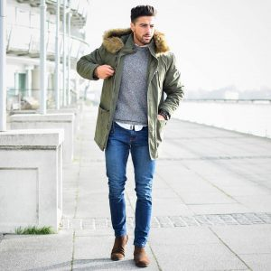 15 Light Green Parka with Denims