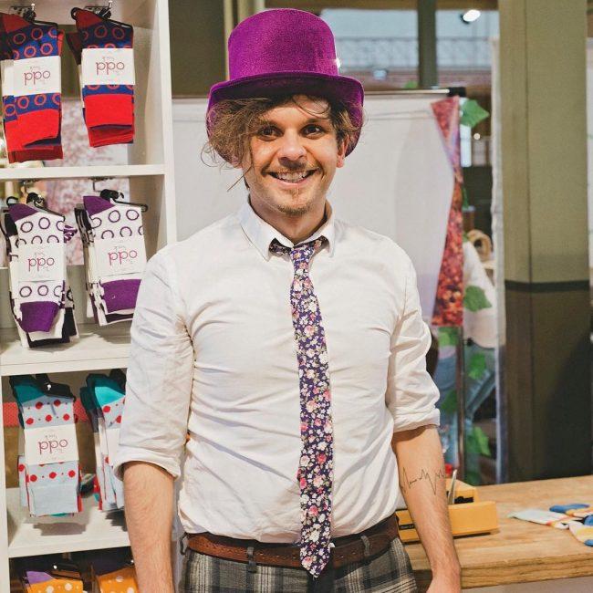 15 Purple Flowered Skinny Tie