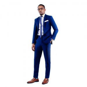15 Strong Blue Suit & Brown Leather Shoes
