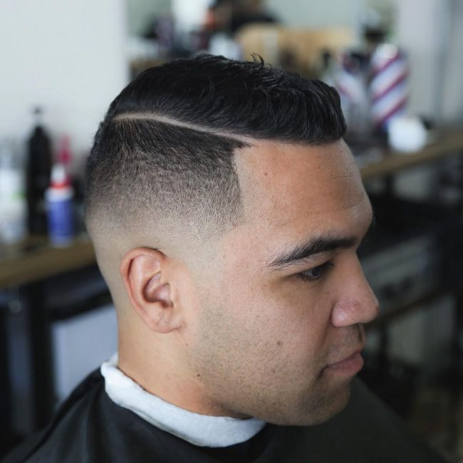 15 Wavy Upswept Top with Razor Line and Skin Fade
