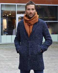 15 Whitened Long Blue Coat & Slim Fit Blue Pants