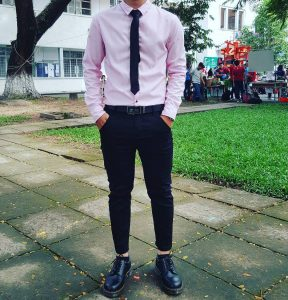 16 Ankle Height Black Boots & Light Pink Shirt