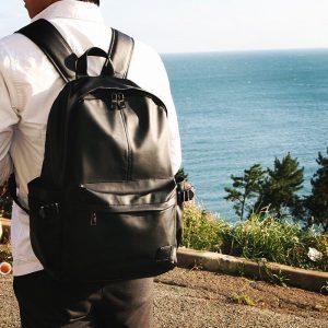 16 Black Backpack & Cream Long Sleeve White Shirt