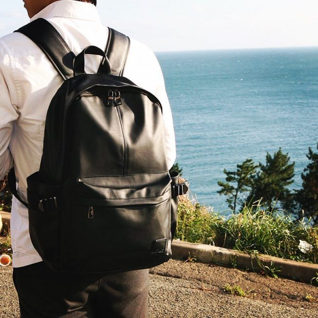 16 Black Backpack & Cream Long Sleeve White Shirt