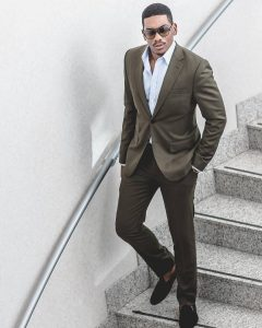 16 Dark Brown Suit & Black Loafers