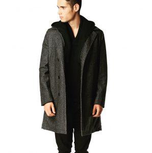 16 Knit Grey Long Coat & Black Pants