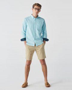 16 Slim Oxford Blue-Green Tartan