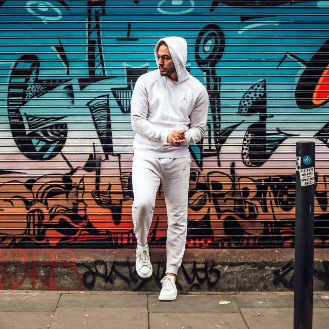 16 White Hoodie Joggers Suit with Golden Detailing