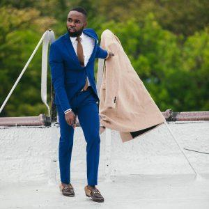 17 Blue Suit & Dark Brown Styled Shoe