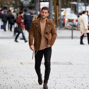 17 Brown Die Jacket with Accessorized Jeans