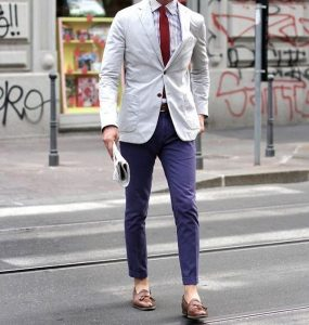 17 Cream White Blazer & Navy Blue Trousers