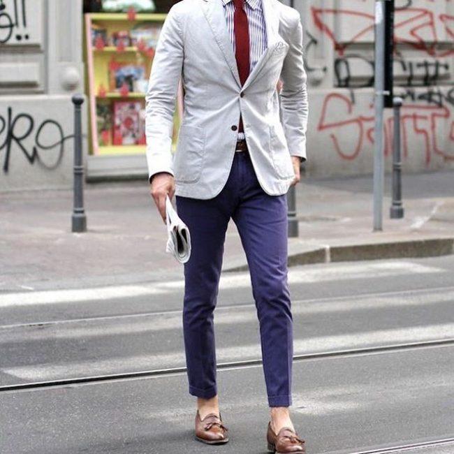 17 Cream White Blazer & Navy Blue Trousers