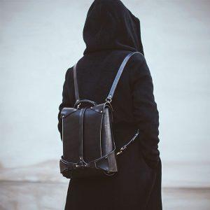 17 Designer Black Backpack & Long Grey Hoodie Coat
