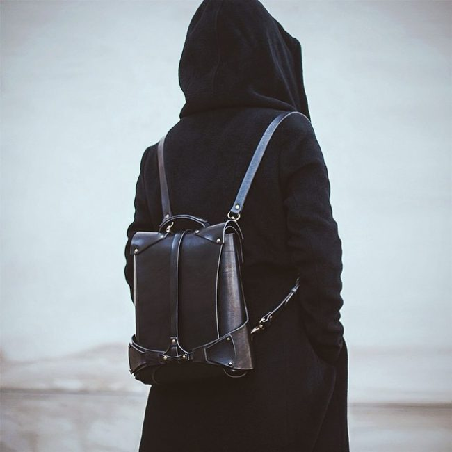 17 Designer Black Backpack & Long Grey Hoodie Coat