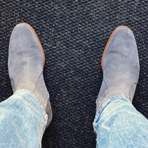 17 Grey Zipped Suede Boots & Faded Blue Jeans