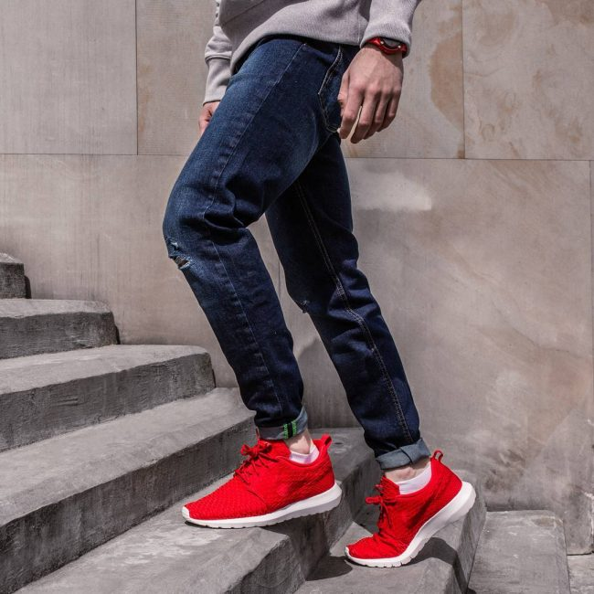 17 Ripped Denim and Red Nike Sneakers
