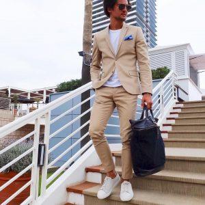 17 Slim Fit Beige Suit