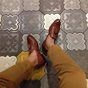18 Maroon Loafers & Brown Pants