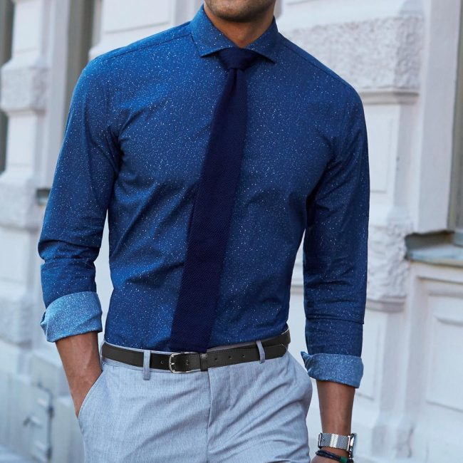 18 Whitened Slim Fit Blue Shirt & Grey Trousers