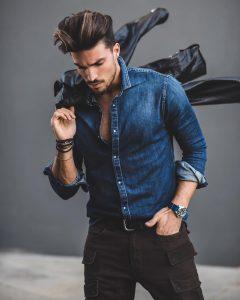 19 Blue Denim Shirt & Brown Side Pocket Trousers