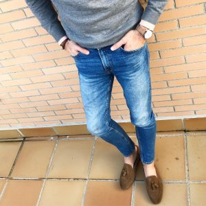 19 Brown Loafers & Grey Sweater