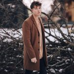 19 Brown Wool Coat with Salmon T-Shirt