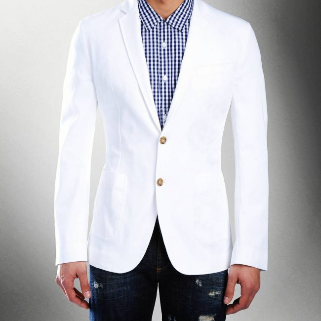 19 Fitting White Blazer with Torn Blue Jeans