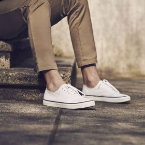 19 Gold Tone Trouser with White Sperry Sneakers
