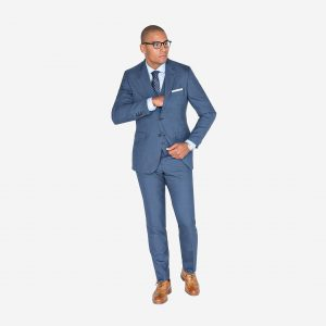 19 Royal Blue 3- Piece Suit & Brown Leather Shoes
