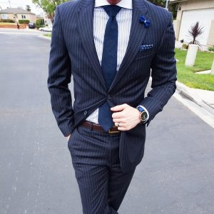 19 Striped Suit With Brown Belt
