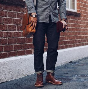 2 Brown Casual Boots & Black Or Dark Blue Jeans