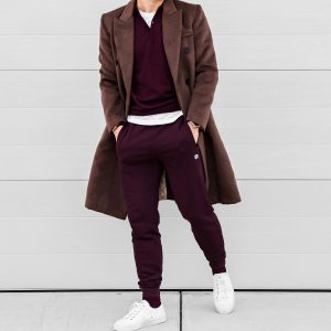 2 Brown Joggers Suit and Dark Brown Long Coat