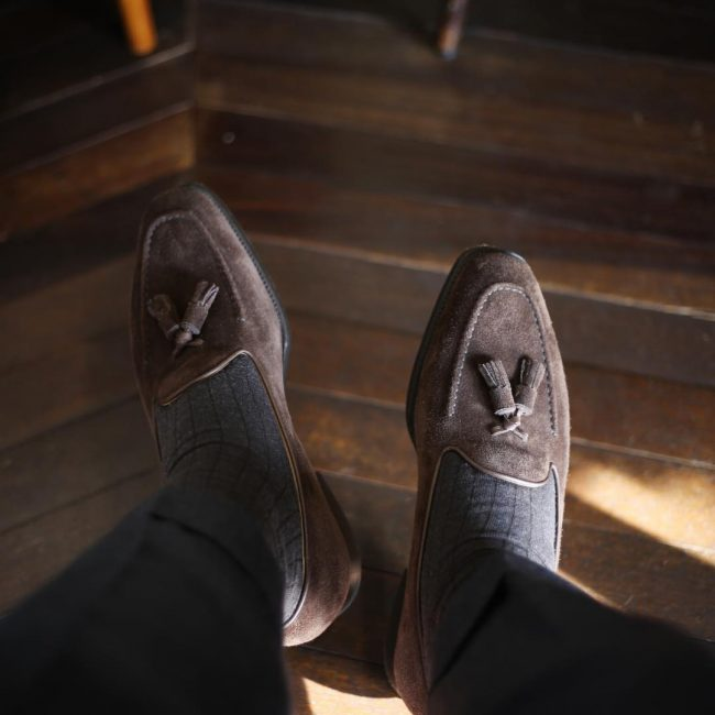 2 Brown Suede Loafers & Grey Trousers