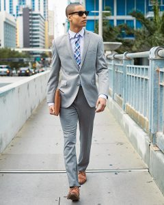 2 Pale Grey Fitting Suit