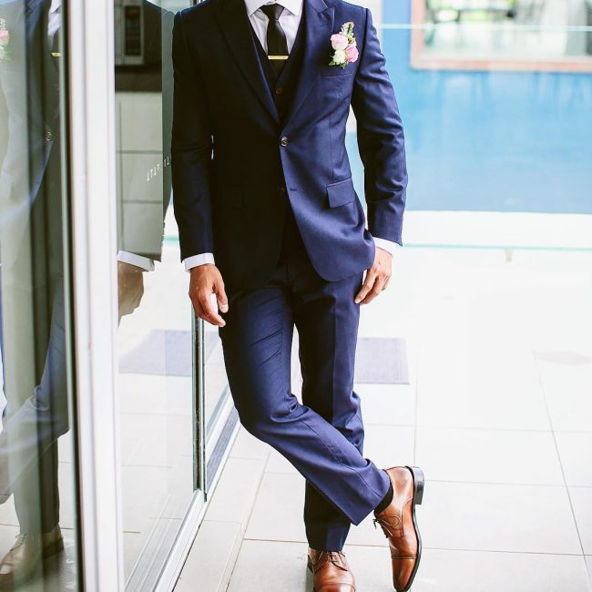 2 Royal Blues 3-Piece Suit & Brown Leather Shoes