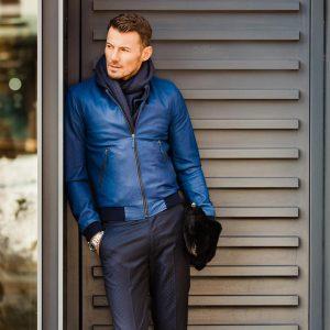 2 Stylish Blue Leather