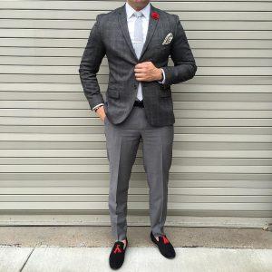 20 Black Loafers & Fitting Grey Checkered Blazer
